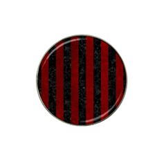 Stripes1 Black Marble & Red Grunge Hat Clip Ball Marker (10 Pack) by trendistuff