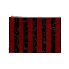 Stripes1 Black Marble & Red Grunge Cosmetic Bag (large)  by trendistuff