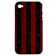 Stripes1 Black Marble & Red Grunge Apple Iphone 4/4s Hardshell Case (pc+silicone) by trendistuff