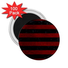 Stripes2 Black Marble & Red Grunge 2 25  Magnets (100 Pack)  by trendistuff