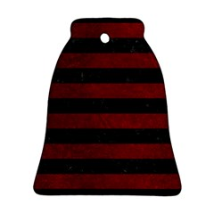 Stripes2 Black Marble & Red Grunge Bell Ornament (two Sides) by trendistuff