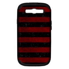 Stripes2 Black Marble & Red Grunge Samsung Galaxy S Iii Hardshell Case (pc+silicone) by trendistuff