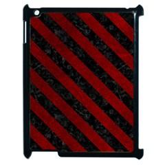 Stripes3 Black Marble & Red Grunge Apple Ipad 2 Case (black) by trendistuff