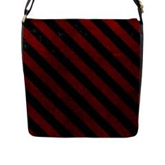 Stripes3 Black Marble & Red Grunge Flap Messenger Bag (l)  by trendistuff