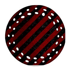 Stripes3 Black Marble & Red Grunge (r) Round Filigree Ornament (two Sides) by trendistuff