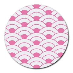 Art Deco Shell Pink White Round Mousepads by 8fugoso