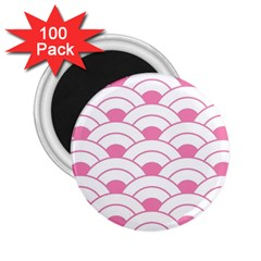 Art Deco Shell Pink White 2 25  Magnets (100 Pack)  by 8fugoso