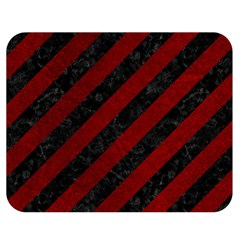 Stripes3 Black Marble & Red Grunge (r) Double Sided Flano Blanket (medium)  by trendistuff