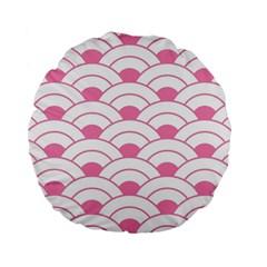 Art Deco Shell Pink White Standard 15  Premium Flano Round Cushions by 8fugoso