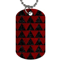 Triangle2 Black Marble & Red Grunge Dog Tag (two Sides) by trendistuff
