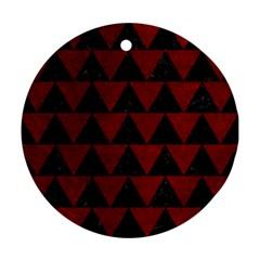 Triangle2 Black Marble & Red Grunge Round Ornament (two Sides) by trendistuff