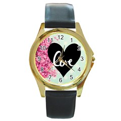 Modern Collage Shabby Chic Round Gold Metal Watch by 8fugoso