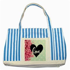 Modern Collage Shabby Chic Striped Blue Tote Bag by 8fugoso