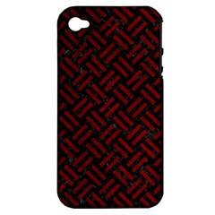 Woven2 Black Marble & Red Grunge (r) Apple Iphone 4/4s Hardshell Case (pc+silicone) by trendistuff