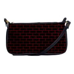 Brick1 Black Marble & Red Leather (r) Shoulder Clutch Bags by trendistuff