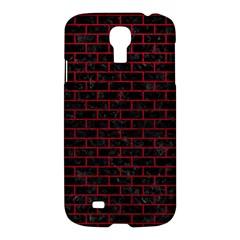Brick1 Black Marble & Red Leather (r) Samsung Galaxy S4 I9500/i9505 Hardshell Case by trendistuff