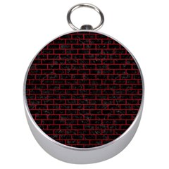 Brick1 Black Marble & Red Leather (r) Silver Compasses by trendistuff