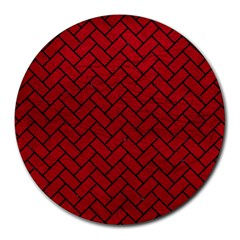 Brick2 Black Marble & Red Leather Round Mousepads by trendistuff