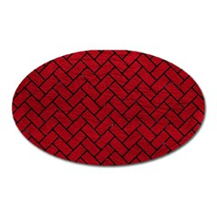 Brick2 Black Marble & Red Leather Oval Magnet by trendistuff