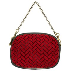 Brick2 Black Marble & Red Leather Chain Purses (one Side)  by trendistuff