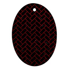 Brick2 Black Marble & Red Leather (r) Oval Ornament (two Sides) by trendistuff