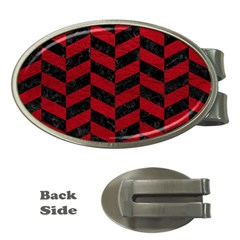 Chevron1 Black Marble & Red Leather Money Clips (oval)  by trendistuff