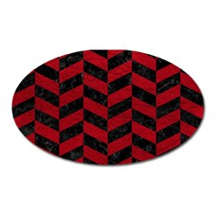 Chevron1 Black Marble & Red Leather Oval Magnet by trendistuff