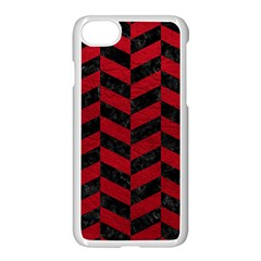 Chevron1 Black Marble & Red Leather Apple Iphone 7 Seamless Case (white) by trendistuff