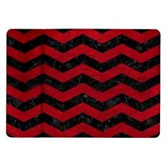 Chevron3 Black Marble & Red Leather Samsung Galaxy Tab 10 1  P7500 Flip Case by trendistuff