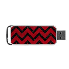 Chevron9 Black Marble & Red Leather Portable Usb Flash (one Side) by trendistuff