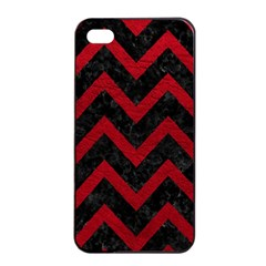 Chevron9 Black Marble & Red Leather (r) Apple Iphone 4/4s Seamless Case (black) by trendistuff