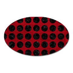 Circles1 Black Marble & Red Leather Oval Magnet by trendistuff