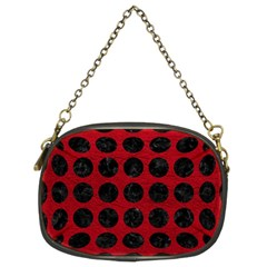 Circles1 Black Marble & Red Leather Chain Purses (two Sides)  by trendistuff