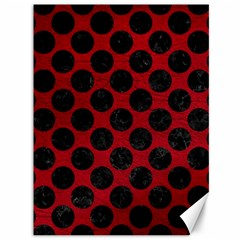 Circles2 Black Marble & Red Leather Canvas 36  X 48   by trendistuff