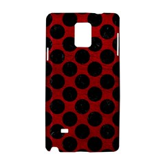Circles2 Black Marble & Red Leather Samsung Galaxy Note 4 Hardshell Case by trendistuff