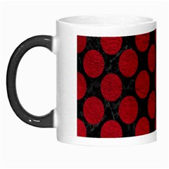 Circles2 Black Marble & Red Leather (r) Morph Mugs by trendistuff