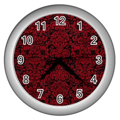 Damask2 Black Marble & Red Leather (r) Wall Clocks (silver)  by trendistuff