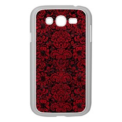 Damask2 Black Marble & Red Leather (r) Samsung Galaxy Grand Duos I9082 Case (white) by trendistuff