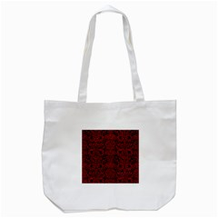 Damask2 Black Marble & Red Leather (r) Tote Bag (white) by trendistuff