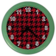 Houndstooth1 Black Marble & Red Leather Color Wall Clocks by trendistuff