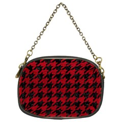 Houndstooth1 Black Marble & Red Leather Chain Purses (two Sides)  by trendistuff