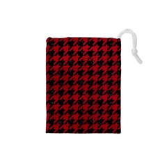 Houndstooth1 Black Marble & Red Leather Drawstring Pouches (small)  by trendistuff
