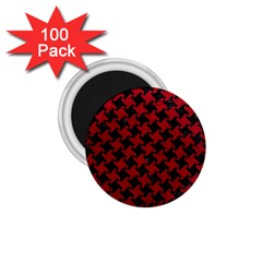 Houndstooth2 Black Marble & Red Leather 1 75  Magnets (100 Pack)  by trendistuff