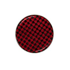 Houndstooth2 Black Marble & Red Leather Hat Clip Ball Marker (10 Pack) by trendistuff