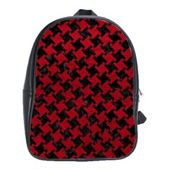Houndstooth2 Black Marble & Red Leather School Bag (xl) by trendistuff