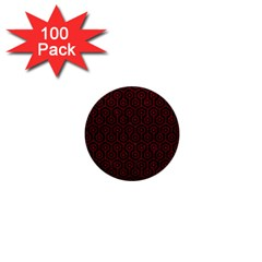 Hexagon1 Black Marble & Red Leather (r) 1  Mini Buttons (100 Pack)  by trendistuff