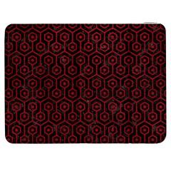 Hexagon1 Black Marble & Red Leather (r) Samsung Galaxy Tab 7  P1000 Flip Case by trendistuff