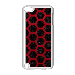 Hexagon2 Black Marble & Red Leather (r) Apple Ipod Touch 5 Case (white) by trendistuff