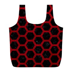 Hexagon2 Black Marble & Red Leather (r) Full Print Recycle Bags (l)  by trendistuff