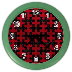 Puzzle1 Black Marble & Red Leather Color Wall Clocks by trendistuff